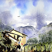 A watercolour of the watermill and Posara in Tuscany, Italy