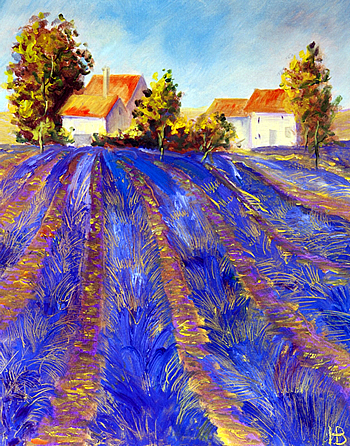 Painting by Varvara Neiman a tutor at the watermill in Italy